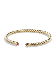 David Yurman Petite Precious Cable Bracelet With Rubies In Gold Gold Ruby