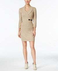 Calvin Klein Buckled Cable Knit Sweater Dress Khaki Gold