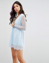 Motel Wrap Front Skater Dress In Delicate Lace Blue Lace