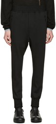 Wooyoungmi Black Fleece Wool Lounge Pants