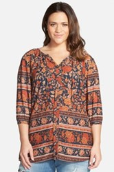 Lucky Brand 'Vintage Floral' Split Neck Peasant Top Plus Size Multi