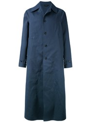 Jil Sander Long Trench Coat Men Cotton Polyurethane 48 Blue