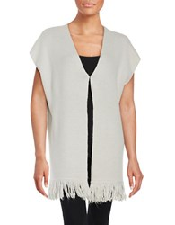 T Tahari Nora Cap Sleeve Fringed Wool Blend Cardigan Grey
