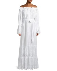Miguelina Damia Off Shoulder Embroidered Cotton Maxi Dress White