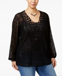 Eyeshadow Trendy Plus Size Crocheted Lace Top Black