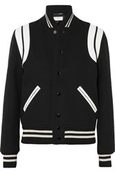 Saint Laurent Teddy Leather Trimmed Wool Blend Bomber Jacket Black Gbp