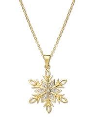 Victoria Townsend 18K Gold Over Sterling Silver Necklace Diamond Accent Snowflake Pendant