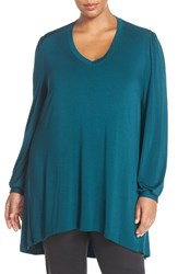 Melissa Mccarthy Seven7 Plus Size Women's Long Sleeve V Neck Tee Deep Teal