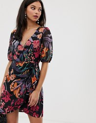 Talulah Wildberry Abstract Floral Wrap Dress Black