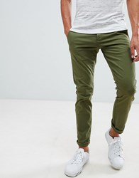 Selected Homme Chinos In Skinny Fit Olive Night Green