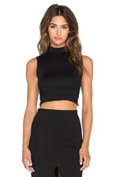 Donna Mizani Mock Neck Crop Top Black