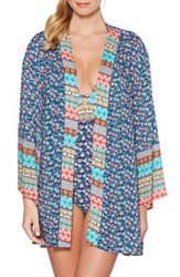 Laundry By Shelli Segal Patchwork Floral Cover Up Kimono Blue Multi