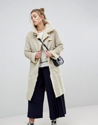 Moon River Borg Lined Duffle Coat Creme Cream