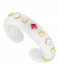 Margot Mckinney Jewelry Weekend White Agate Cuff Bracelet With Mixed Studs