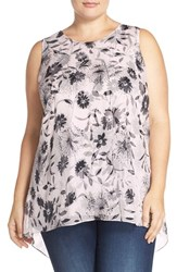 Vince Camuto Plus Size Women's 'Dandelion' Chiffon Overlay Sleeveless High Low Blouse