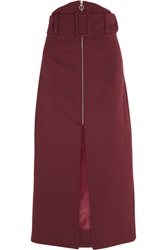 Carven Gabardine Midi Skirt Red
