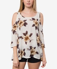 O'neill Juniors' Anderson Printed Cold Shoulder Top White