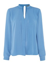 Biba Collar Detail Drape Front Blouse Blue