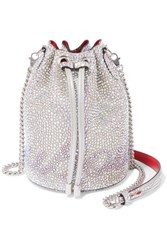Christian Louboutin Marie Jane Crystal Embellished Suede And Leather Bucket Bag Silver