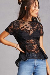 Forever 21 Sheer Embroidered Peplum Top Black