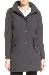 Women's Kensie Soft Shell Coat With Removable Hood Charcoal