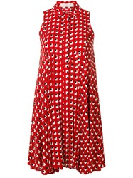 L'autre Chose Printed Shirt Dress Red