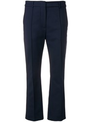 Sportmax Cropped Tailored Trousers Blue