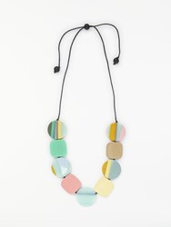 One Button Curve Disc And Square Cord Necklace Multi