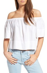 Ag Jeans Women's Sylvia Off The Shoulder Linen Twill Top True White