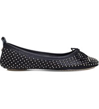 Carvela Lay Studded Leather Ballerinas Black
