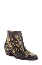 Chloe Women's Chloe 'Susanna' Stud Buckle Bootie Black Gold Leather