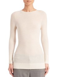 M.Patmos Ribbed Merino Wool Crewneck Top Ivory