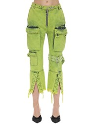 Marques Almeida Multi Pocket Cropped Denim Jeans Lime Green