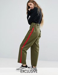 Reclaimed Vintage Revived Military Trousers With Stripe Khaki Green