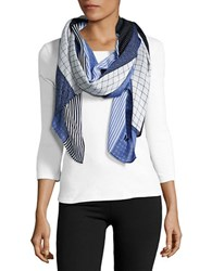 Michael Michael Kors Multi Print Striped Scarf New Navy Blue