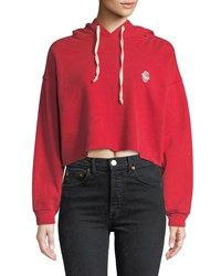 Re Done Cropped Raw Edge Pullover Hoodie Red