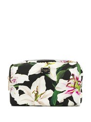 Dolce And Gabbana Lily Print Make Up Bag Black