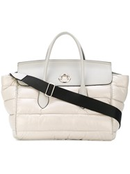 Moncler Large Evera Tote Feather Down Leather Polyamide Polyester Grey