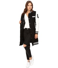 Members Only Long Varsity Wool With Pu Sleeves Black Men's Clothing