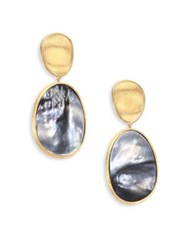 Marco Bicego Lunaria Black Mother Of Pearl And 18K Yellow Gold Long Drop Earrings Gold Grey