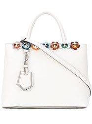 Fendi Petite 2Jours Tote With Flower Appliques Women Leather Acrylic Metal One Size White