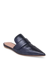 Marni Metallic Leather Mules Navy Blue Silver