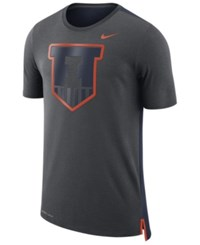 Nike Men's Illinois Fighting Illini Meshback Travel T Shirt Anthracite