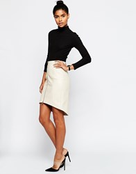 Asos Textured Pu Pencil Skirt With Zip Front Cream