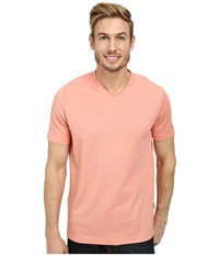 Perry Ellis Oxford V Neck Tee Coral Haze Men's Short Sleeve Pullover Red