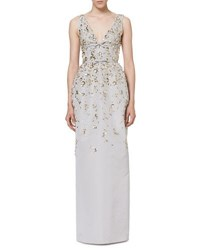 Carolina Herrera Embellished Silk Faille Column Gown Silver