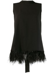 P.A.R.O.S.H. Faux Feather Embellished Blouse Black