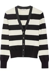 Bouchra Jarrar Grosgrain Trimmed Striped Wool Blend Cardigan Ivory