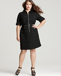 Michael Michael Kors Plus Size Roll Sleeve Belted Shirt Dress Black
