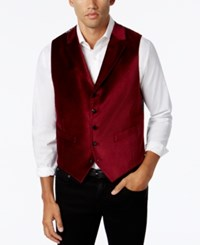 Tallia Men's Big And Tall Slim Fit Red Velvet Vest